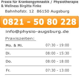 öffnungszeiten physiotherapie / Krankengymnastik