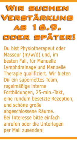 Stellenausschreibung bei Physiotherapie Praxis Birgitta Finke